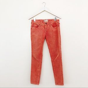 Free People Skinny Velour Pants (coral)